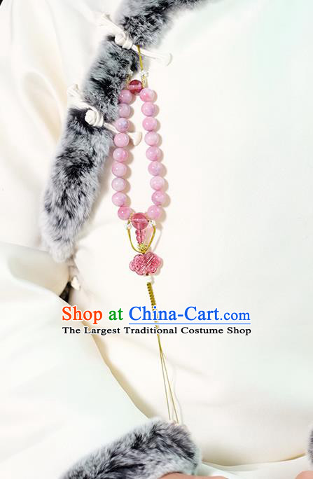 Chinese Traditional Jewelry Accessories Classical Pressure Front Pink Beads Tassel Brooch for Women
