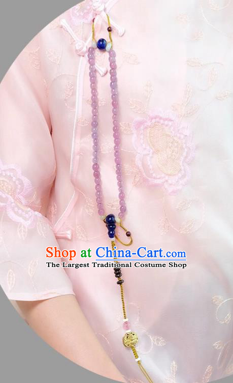 Chinese Traditional Jewelry Accessories Classical Pressure Front Purple Beads Tassel Brooch for Women