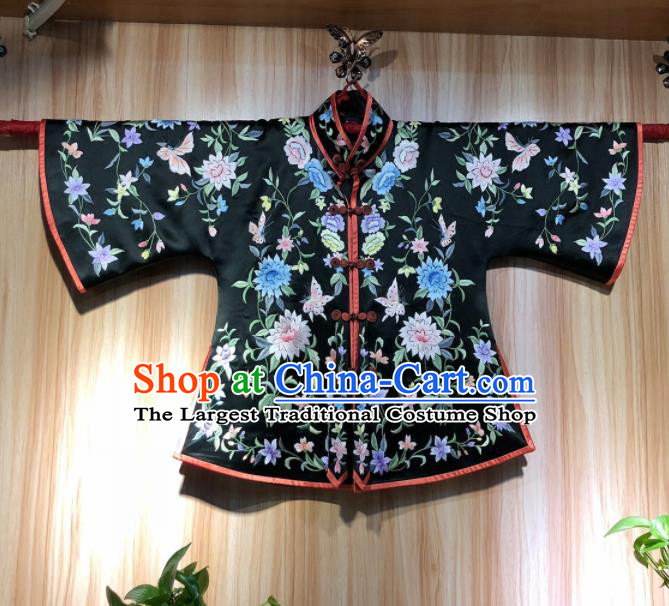 Chinese Traditional National Costume Ancient Qing Dynasty Embroidered Black Silk Blouse for Women