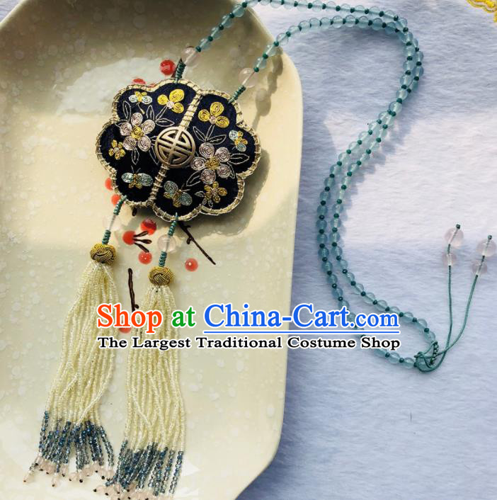 Chinese Traditional Jewelry Accessories Classical Pressure Black Embroidered Tassel Brooch for Women
