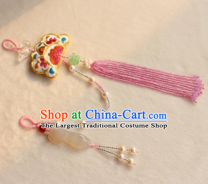 Chinese Traditional Jewelry Accessories Classical Pressure Front Jade Ruyi Tassel Brooch for Women