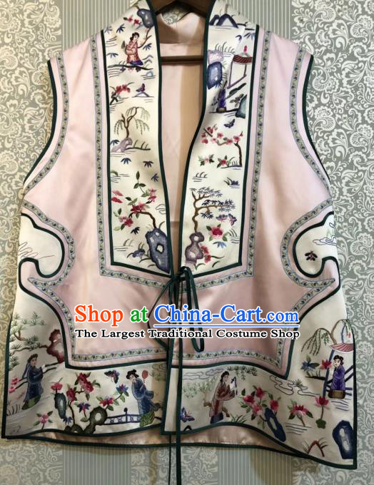 Traditional Chinese National Costume Pink Silk Vest Tang Suit Waistcoat for Women