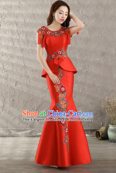 Chinese Traditional Wedding Costume Classical Embroidered Red Fishtail Full Dress for Women