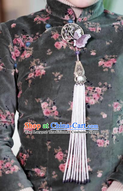 Chinese Traditional Jewelry Accessories Classical Pressure Front Embroidered Butterfly Tassel Brooch for Women
