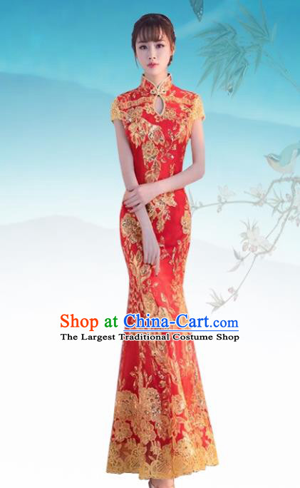 Chinese Traditional Wedding Costume Classical Embroidered Red Full Dress for Women
