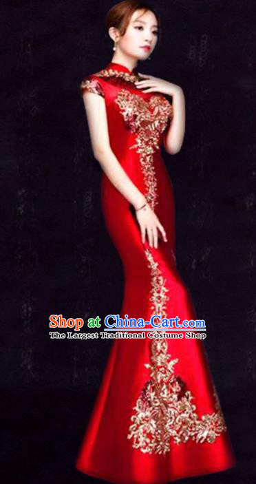 Chinese Traditional Fishtail Cheongsam Costume Classical Embroidered Red Full Dress for Women