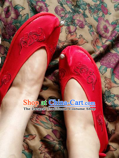 Chinese Ancient Princess Wedding Red Shoes Traditional Cloth Shoes Hanfu Shoes Embroidered Shoes for Women