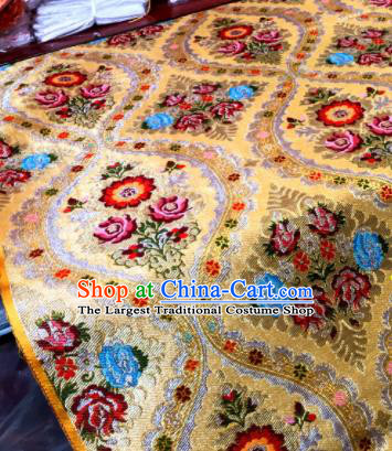 Chinese Traditional Buddhism Peony Pattern Design Golden Brocade Silk Fabric Tibetan Robe Fabric Asian Material