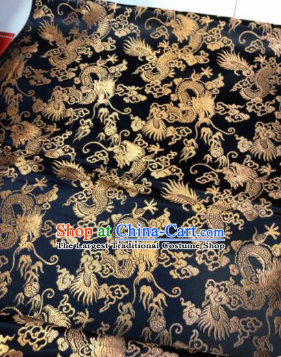 Chinese Traditional Buddhism Dragons Pattern Design Black Brocade Silk Fabric Tibetan Robe Fabric Asian Material