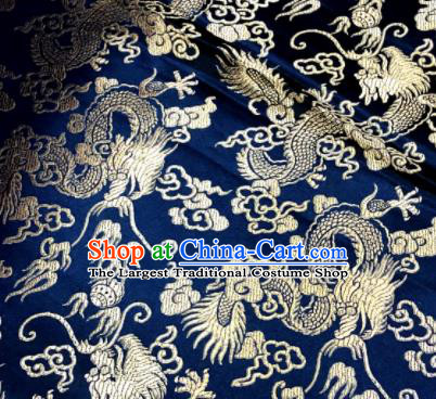 Chinese Traditional Buddhism Dragons Pattern Design Navy Brocade Silk Fabric Tibetan Robe Fabric Asian Material