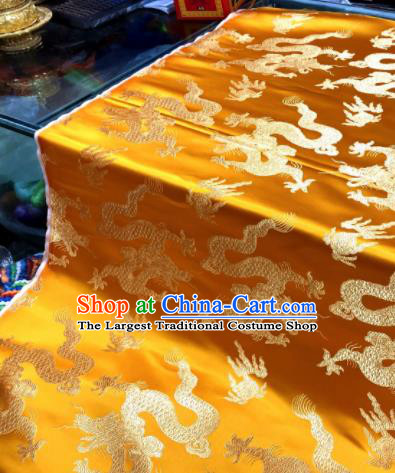 Chinese Traditional Buddhism Dragons Pattern Design Yellow Brocade Silk Fabric Tibetan Robe Fabric Asian Material