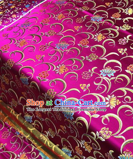 Chinese Traditional Buddhism Lotus Pattern Design Rosy Brocade Silk Fabric Tibetan Robe Satin Fabric Asian Material