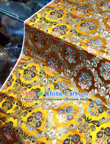 Chinese Traditional Buddhism Roses Pattern Design Golden Brocade Silk Fabric Tibetan Robe Satin Fabric Asian Material
