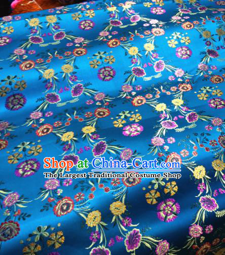 Chinese Traditional Buddhism Flowers Pattern Design Blue Brocade Silk Fabric Tibetan Robe Satin Fabric Asian Material