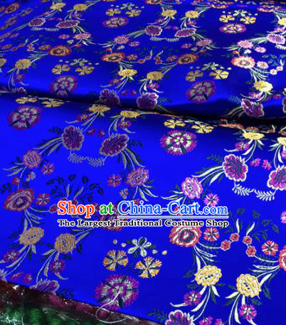 Chinese Traditional Buddhism Flowers Pattern Design Royalblue Brocade Silk Fabric Tibetan Robe Satin Fabric Asian Material