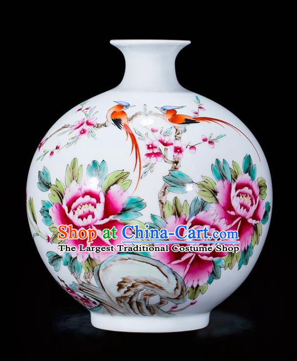Chinese Traditional Painting Birds Peony Enamel Pomegranate Vase Jingdezhen Ceramic Handicraft