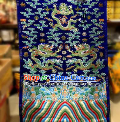 Chinese Traditional Buddhism Dragons Pattern Design Royalblue Brocade Silk Fabric Tibetan Robe Satin Fabric Asian Material