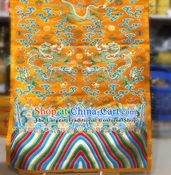 Chinese Traditional Buddhism Dragons Pattern Design Golden Brocade Silk Fabric Tibetan Robe Satin Fabric Asian Material