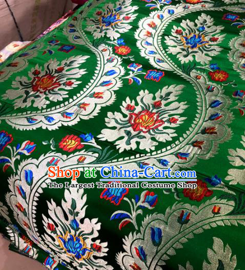 Chinese Traditional Buddhism Flowers Pattern Design Green Brocade Silk Fabric Tibetan Robe Satin Fabric Asian Material