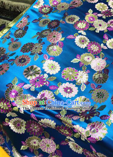 Chinese Traditional Buddhism Daisy Pattern Design Blue Brocade Silk Fabric Tibetan Robe Satin Fabric Asian Material