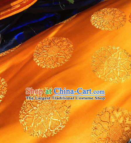 Chinese Traditional Buddhism Pattern Golden Brocade Silk Fabric Tibetan Robe Satin Fabric Asian Material