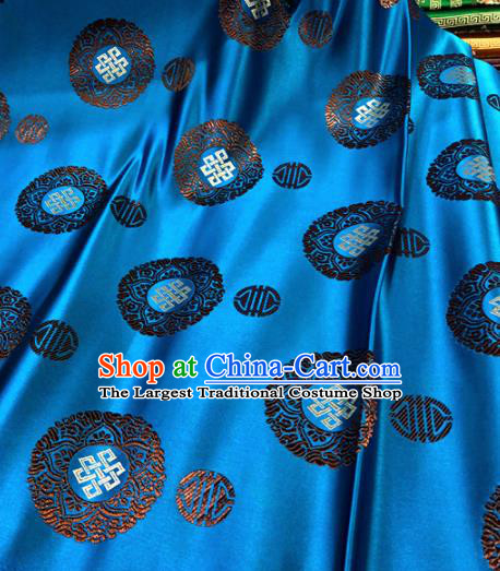 Chinese Traditional Buddhism Lucky Pattern Blue Brocade Silk Fabric Tibetan Robe Satin Fabric Asian Material