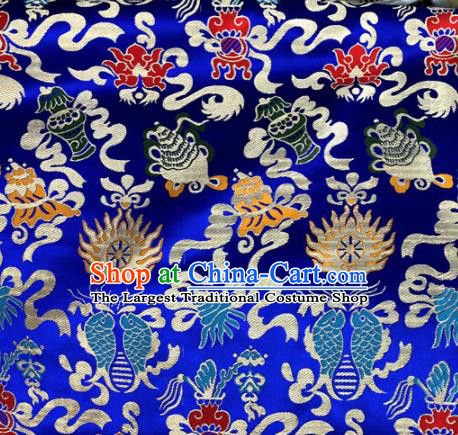 Chinese Traditional Buddhism Fire Fishes Pattern Royalblue Brocade Silk Fabric Tibetan Robe Satin Fabric Asian Material
