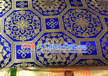 Chinese Traditional Buddhism Rosette Pattern Royalblue Brocade Silk Fabric Tibetan Robe Satin Fabric Asian Material