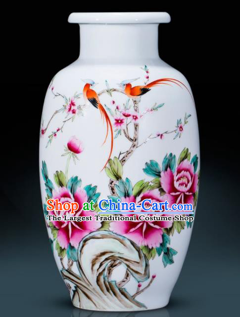 Chinese Traditional Painting Birds Enamel Wax Gourd Vase Jingdezhen Ceramic Handicraft