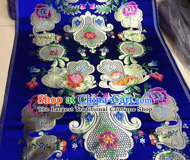 Chinese Traditional Buddhism Pattern Design Royalblue Brocade Silk Fabric Tibetan Robe Satin Fabric Asian Material