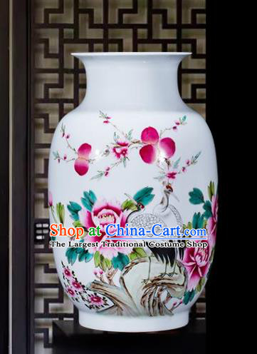 Chinese Traditional Painting Birds Crane Enamel Wax Gourd Vase Jingdezhen Ceramic Handicraft