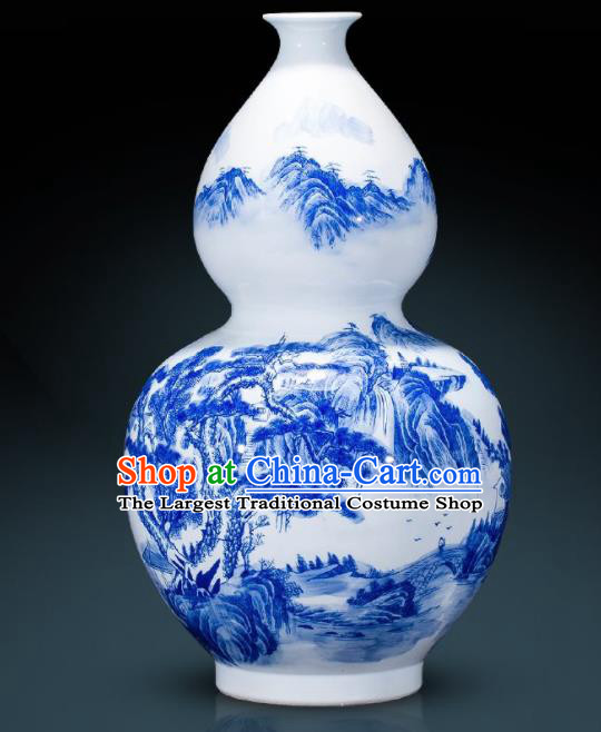 Chinese Jingdezhen Ceramic Landscape Painting Calabash Vase Handicraft Traditional Blue and White Porcelain Vase