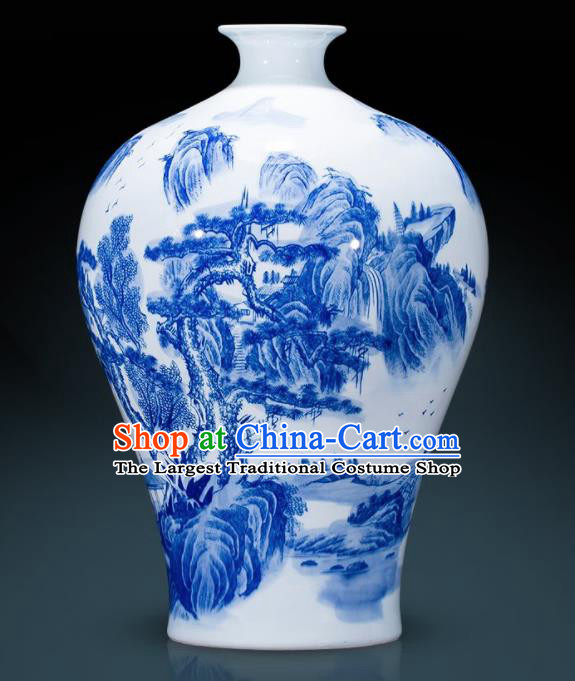 Chinese Jingdezhen Ceramic Landscape Painting Prunus Vase Handicraft Traditional Blue and White Porcelain Vase