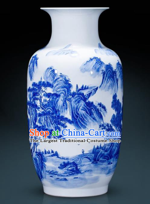 Chinese Jingdezhen Ceramic Landscape Painting Wax Gourd Vase Handicraft Traditional Blue and White Porcelain Vase