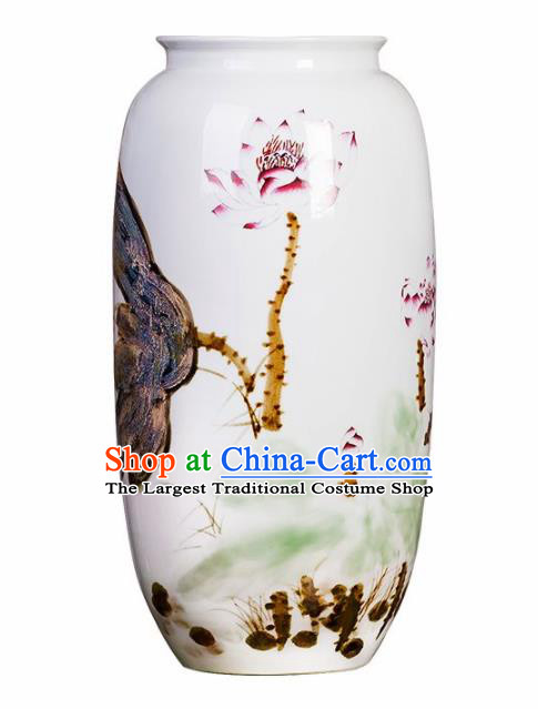 Chinese Jingdezhen Ceramic Hand Painting Lotus Fambe Wax Gourd Vase Handicraft Traditional Porcelain Vase