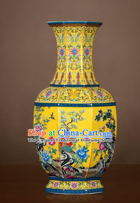 Chinese Jingdezhen Ceramic Yellow Powder Enamel Vase Handicraft Traditional Porcelain Vase