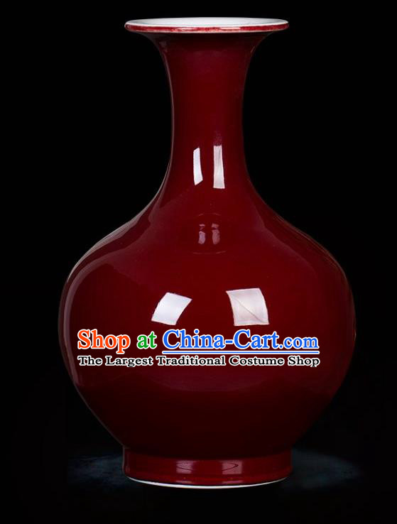 Chinese Traditional Red Enamel Design Vase Jingdezhen Ceramic Handicraft