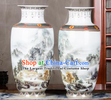 Chinese Traditional Printing Valley View Enamel Vase Jingdezhen Ceramic Handicraft