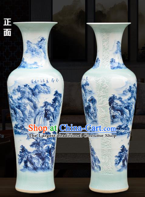 Chinese Traditional Printing Mountains Enamel Vase Jingdezhen Ceramic Handicraft