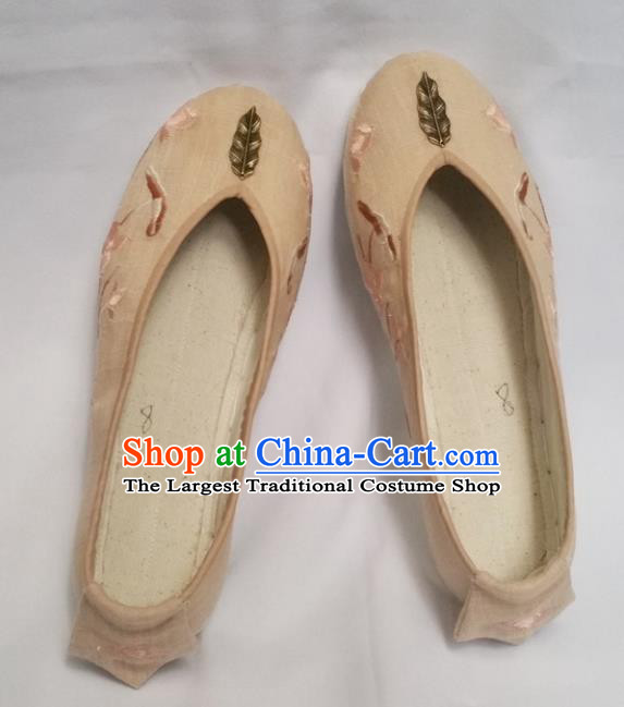 Chinese Ancient Princess Beige Shoes Traditional Wedding Cloth Shoes Hanfu Shoes Embroidered Shoes for Women