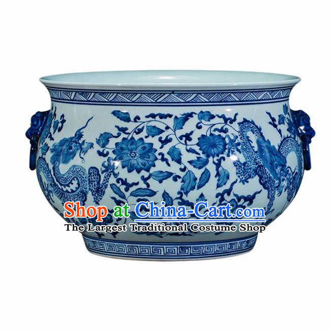 Chinese Jingdezhen Ceramic Painting Dragon Enamel Pot Handicraft Traditional Porcelain Vase