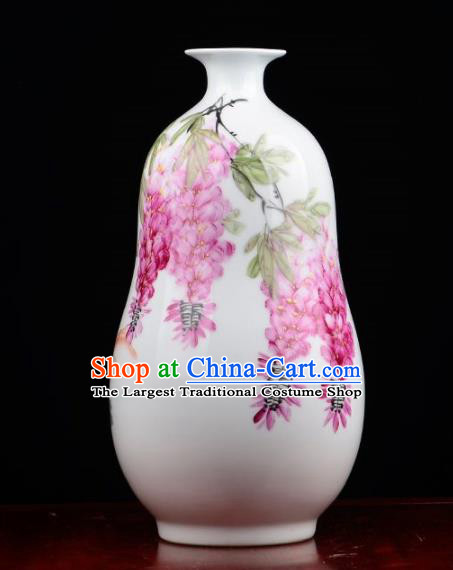 Chinese Jingdezhen Ceramic Craft Painting Wisteria Powder Enamel Vase Handicraft Traditional Porcelain Vase