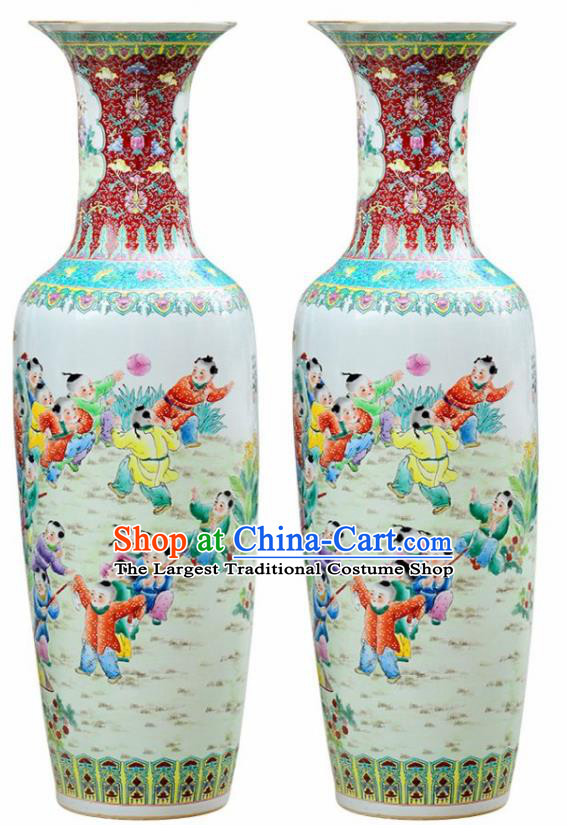 Chinese Traditional Hand Painting Play Children Enamel Vase Jingdezhen Ceramic Handicraft