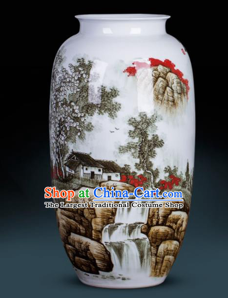 Chinese Jingdezhen Ceramic Craft Hand Painting Landscape Vase Enamel Handicraft Traditional Porcelain Vase
