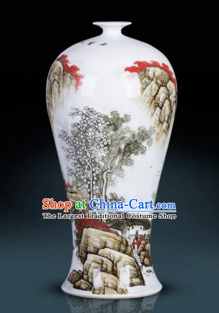 Chinese Jingdezhen Ceramic Craft Hand Painting Landscape Prunus Vase Enamel Handicraft Traditional Porcelain Vase