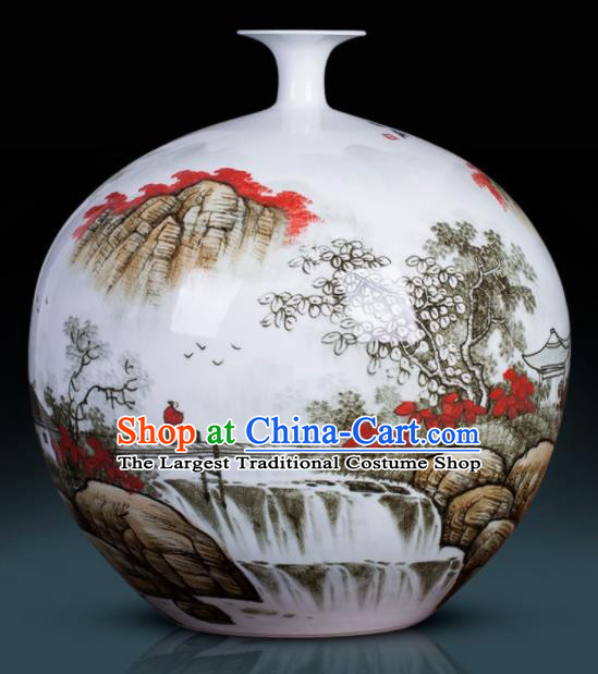 Chinese Jingdezhen Ceramic Craft Hand Painting Landscape Pomegranate Vase Enamel Handicraft Traditional Porcelain Vase