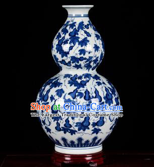 Chinese Jingdezhen Ceramic Craft Twine Pattern Calabash Vase Enamel Handicraft Traditional Porcelain Vase