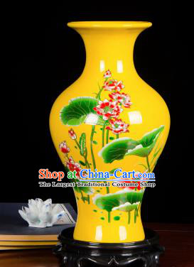 Chinese Jingdezhen Ceramic Craft Hand Painting Lotus Yellow Enamel Fishtail Vase Handicraft Traditional Porcelain Vase