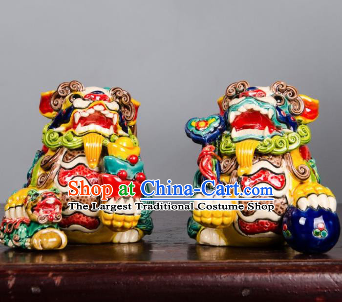 Chinese Traditional Pi Xiu Decoration Enamel Pi Yao Crafts Jingdezhen Ceramic Handicraft