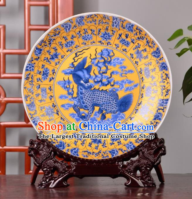 Chinese Traditional Hand Painting Kylin Decoration Enamel Dish Jingdezhen Ceramic Handicraft